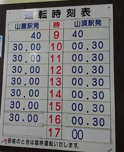 奥宮に行くためのロープウェイ時間表