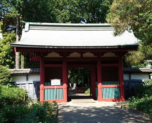 仙波東照宮随身門の正面の風景(木々に囲まれています)