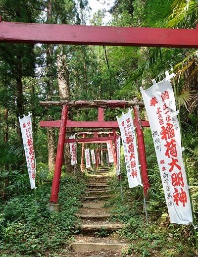 稲荷神社に向かう途中のたくさんの赤い鳥居の風景