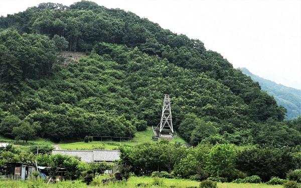 龍勢祭で使用される発射台(櫓)の風景