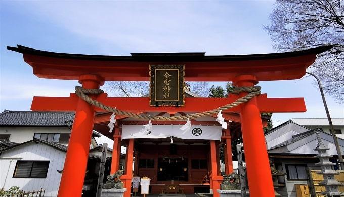 赤い鳥居と社殿の風景