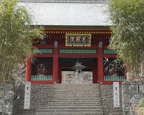 階段の先に立派な随神門が確認できる風景