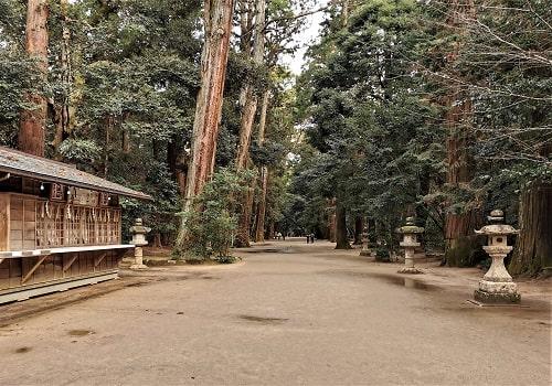 奥宮に向かう参道の風景