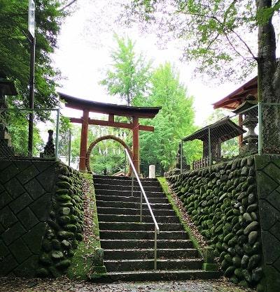 階段上の赤い鳥居と茅の輪の風景