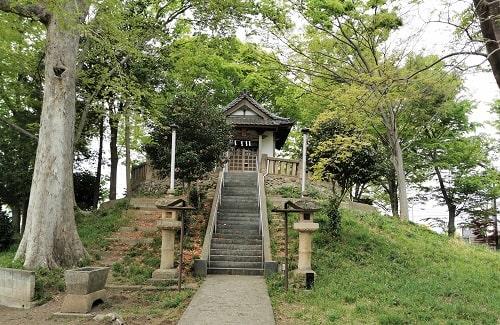 古墳の上の八坂神社の風景