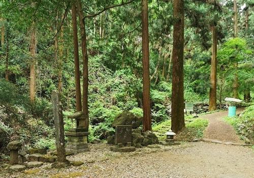 石碑が並ぶ山道風景