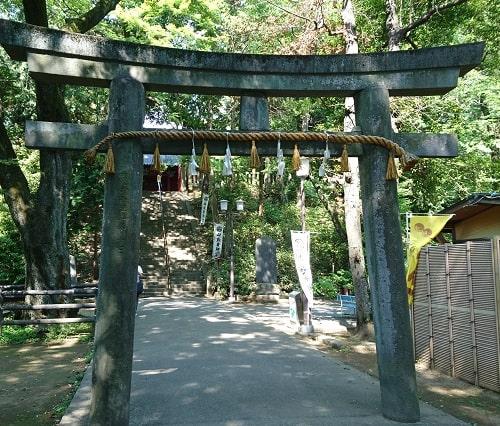 参道の先にある石鳥居の風景