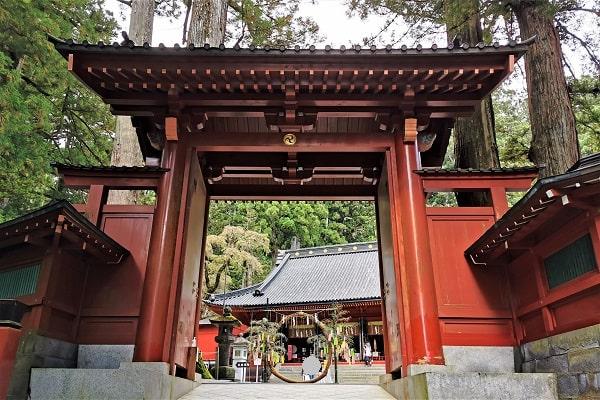 神門とその先の社殿の風景
