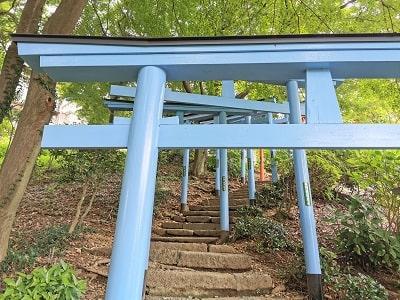 青色の鳥居の風景