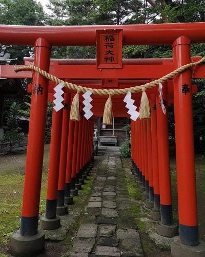 社殿の横の稲荷神社のずらりと並ぶ鳥居の風景
