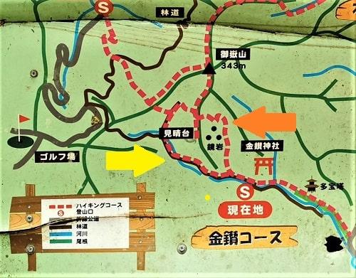 ハイキングコースの地図