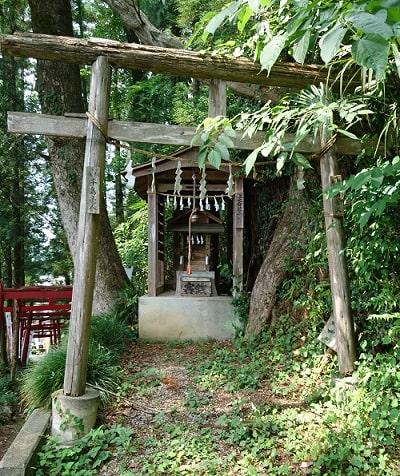 山の途中にあった小さな神社の拝殿風景