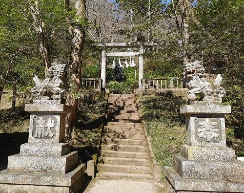 東郷元帥の像に行く前の狛犬と鳥居の風景