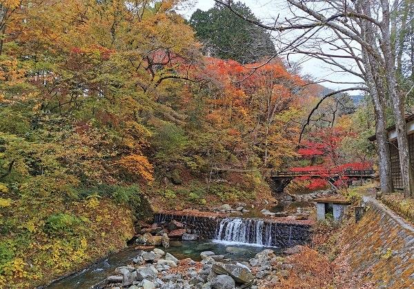 古峯園に入る前の橋の上からの川と紅葉の風景